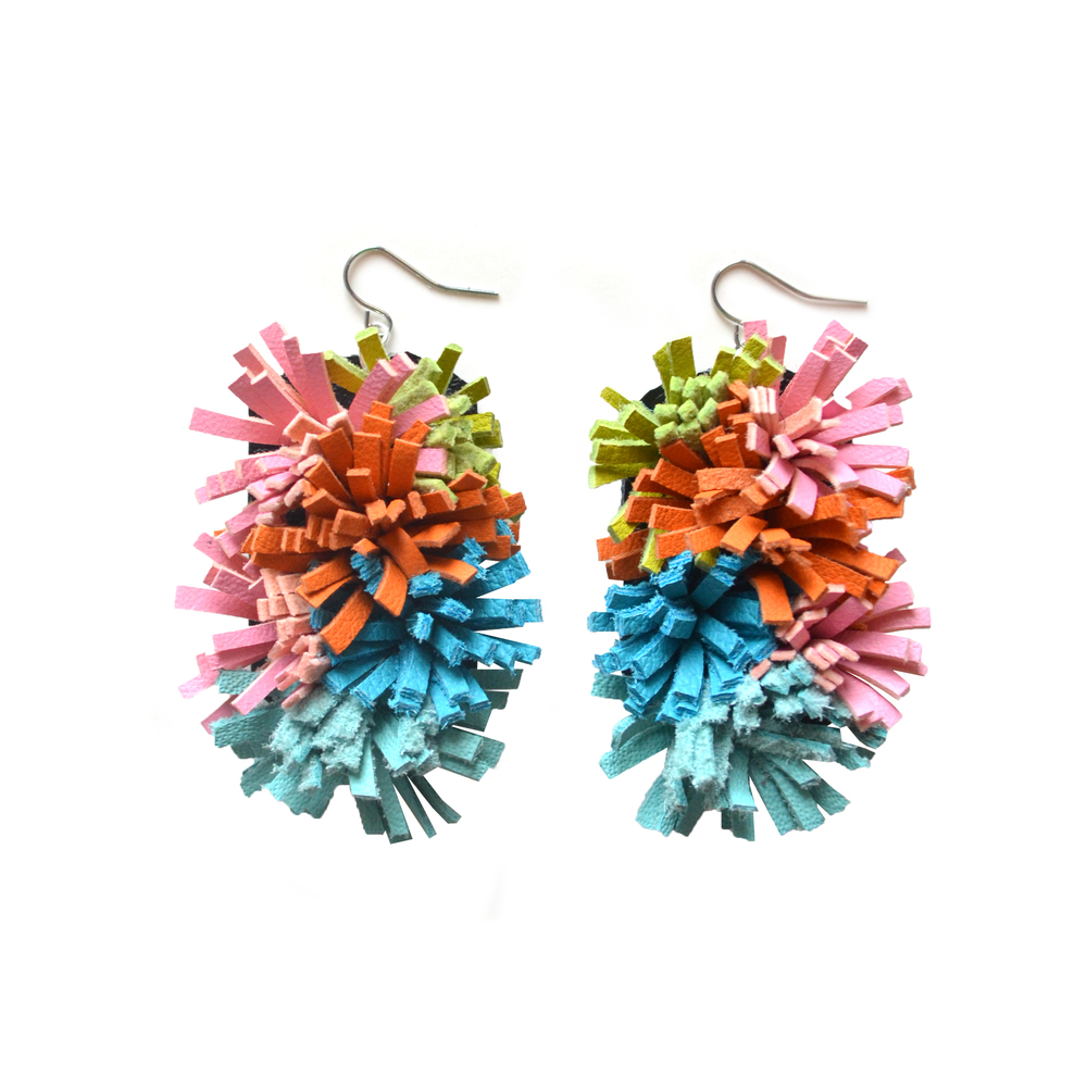 Colorful Leather Earrings, Fiber Art Jewelry, Sea Anemone Earrings, Furry Fringe Earrings in Teal, Green, Pink and Orange.jpg
