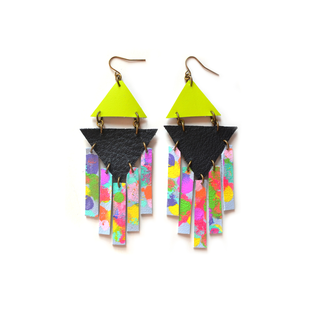 Rainbow Geometric Earrings, Hand Painted Leather Rectangle Dangle Earrings, Triangle Geometric Jewelry, Neon Tribal Leather Jewelry.jpg