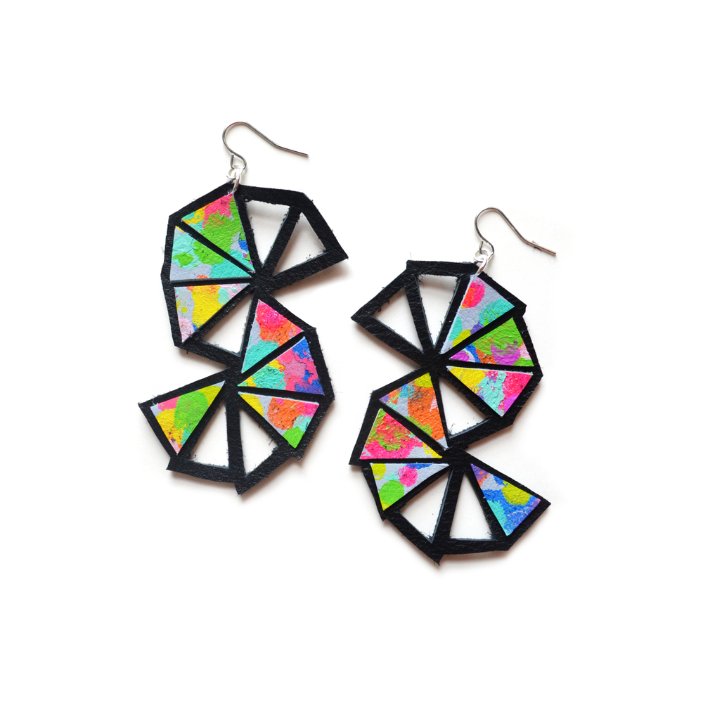 Geometric Earrings, Rainbow Triangle Chevron Earrings, Painted Leather Jewelry, Colorful Geometric Jewelry.jpg