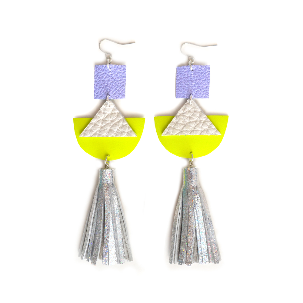 Geometric Earrings, Neon Yellow Leather Earrings, Holographic Silver Leather Tassel Earrings, Hologram Jewelry 2.jpg