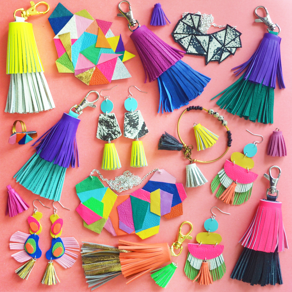 Boo and Boo Factory jewelry is bright and bold jewelry design that demands attention. The collection ranges from neon statement necklaces, colorful geometric bib necklaces, tassel leather earrings to geometric jewelry, including leather rings. My pieces are designed to stand out from the crowd.