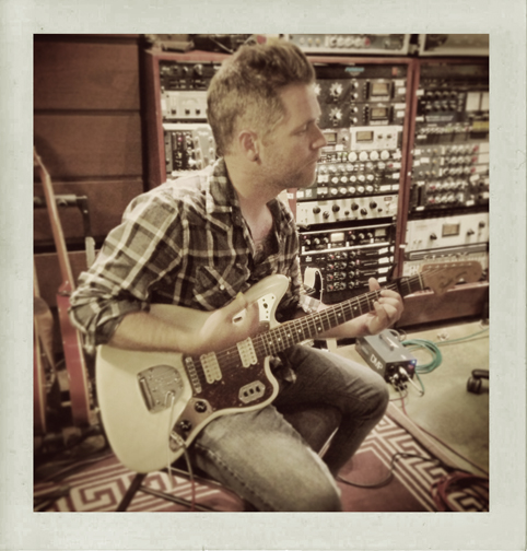 Jeremiah tracking electric guitar - Photo by Joshua Zimmerman