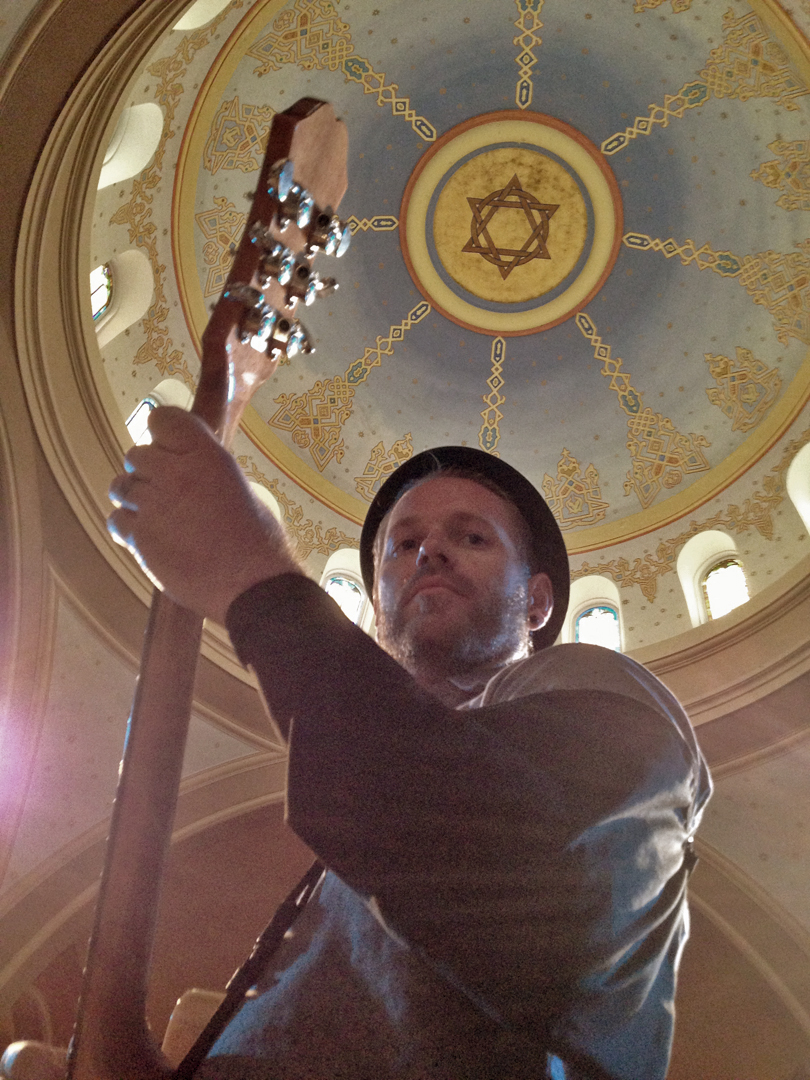 Jeremiah soundchecking at our first ever Synagogue show at Sixth and I in Washington DC - Photo by Joshua Zimmerman
