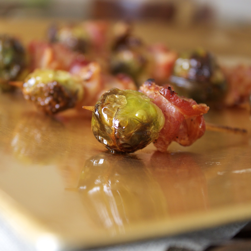 Pine and Crave  Brussels Sprouts and Bacon Mini Kabobs