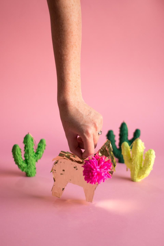 Tiny Llama Piñata &Cacti Piñata Ornaments.