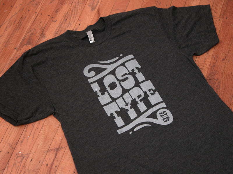 Woodtype inspired tee shirts designed for the Lost Type Co-Op featuring a customize cut of the Dude font.   Available for purchase here.