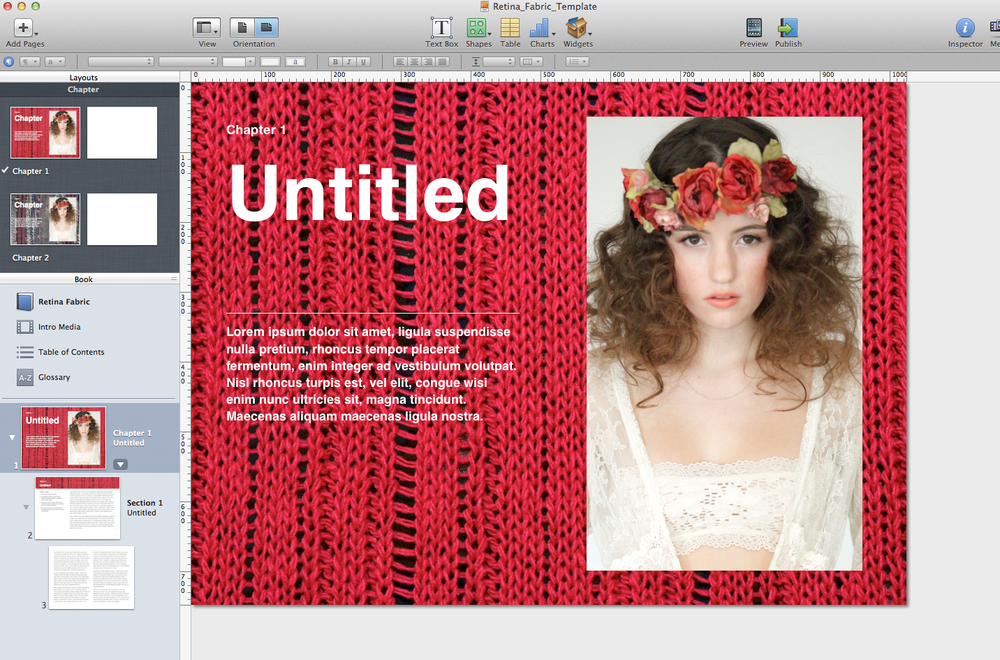 iBooks Author templates Retina