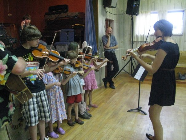 The final performance of a kids fiddling camp I created and ran in the summer of 2009