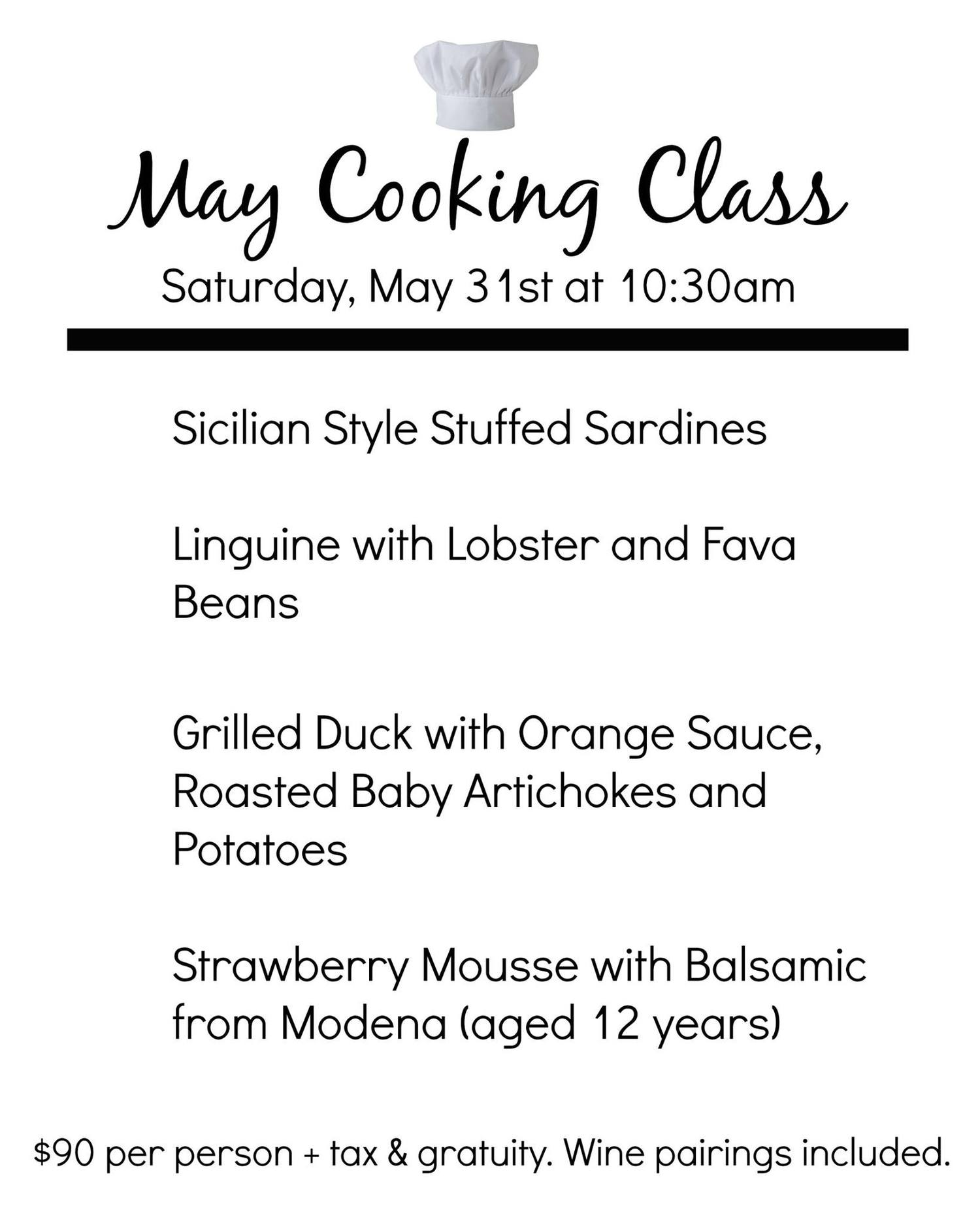 May Cooking Class — Amici Miei Ristorante | Traditional & Elegant