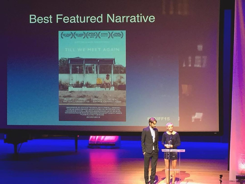 Johan Matton and Linnea Larsdotter Winning the jury and audience award for best picture at LBIFF.jpg