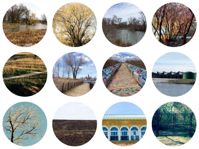 Top L-R: Humboldt Park, Winnemac Park, McKinley Park, Humboldt Park Middle L-R:: West Ridge Nature Preserve, Canal Origins Park, Canal Origins Park, Studio Gang Eleanor Boathouse. Bottom: L-R: West Ridge Park, Palmisano Park, Washington Park, Washington Park. Photographs: Jennifer Hoffman 2017