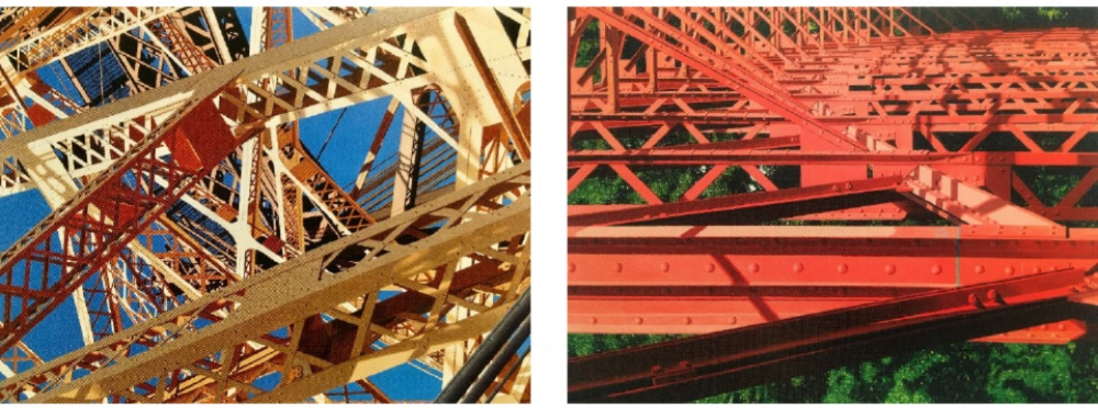 "Left:  Queensboro . Acrylic on canvas. 60"" x 45"".  Roland Kulla                                                       Right:  Tegeler HafenBrucke II . Acrylic on canvas. 60"" x 45"".  Roland Kulla"