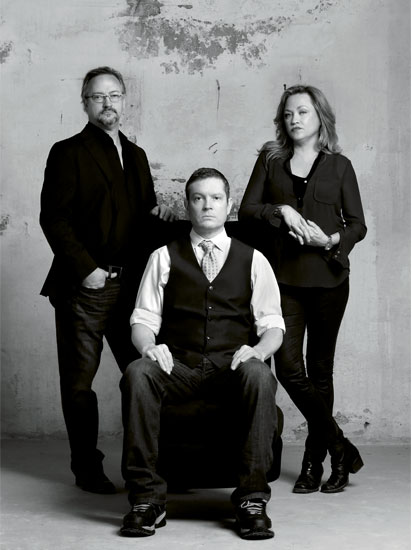 Left to right standing:  Joe Clarke, Darlene Mann-Clarke (co-owners Vault & Vator); seated:  Kirk Ingram (head mixoligist
