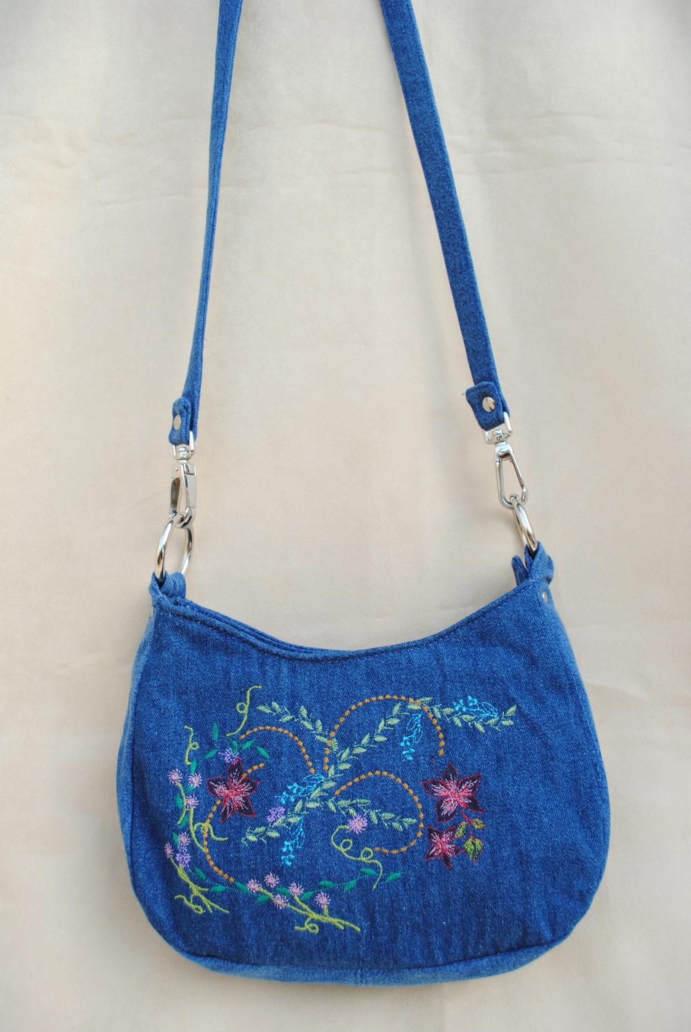 Blue Jean Garden Embroidered Purse
