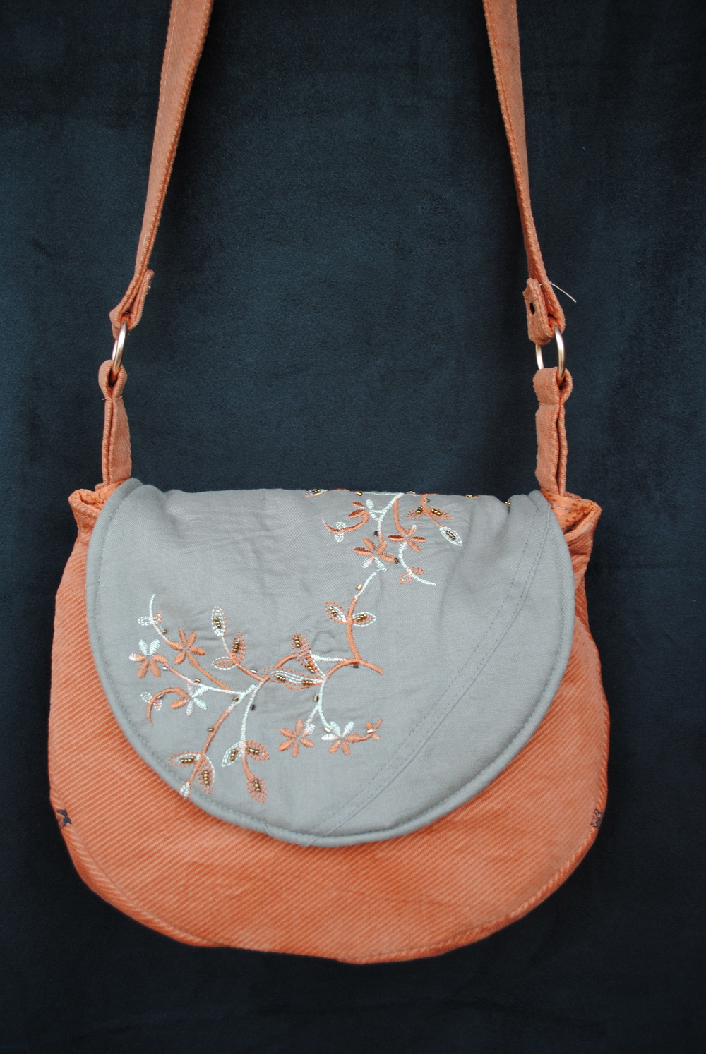 Copper Daisy in Sand Embroidered Flap Messenger