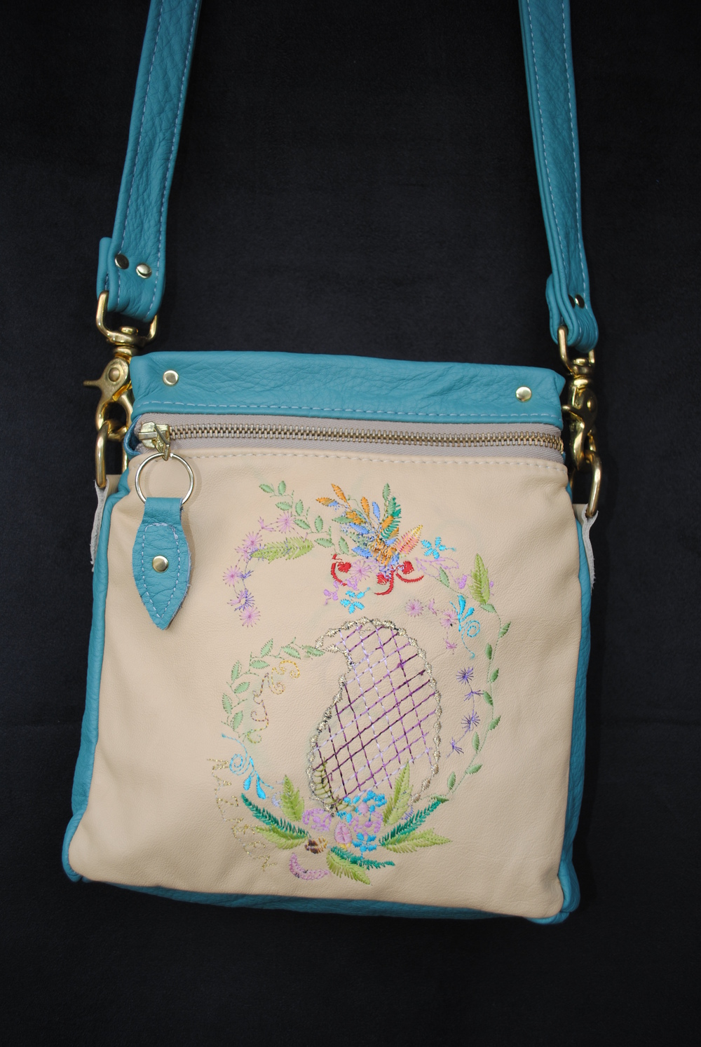 Sophisticated Garden Embroidered Leather in Turquoise and beige