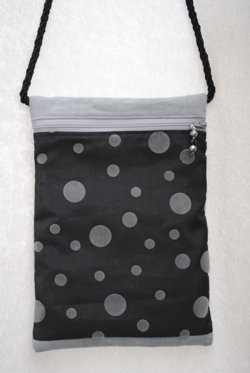 Bubbles Grey and Black Suede Pocket Purse