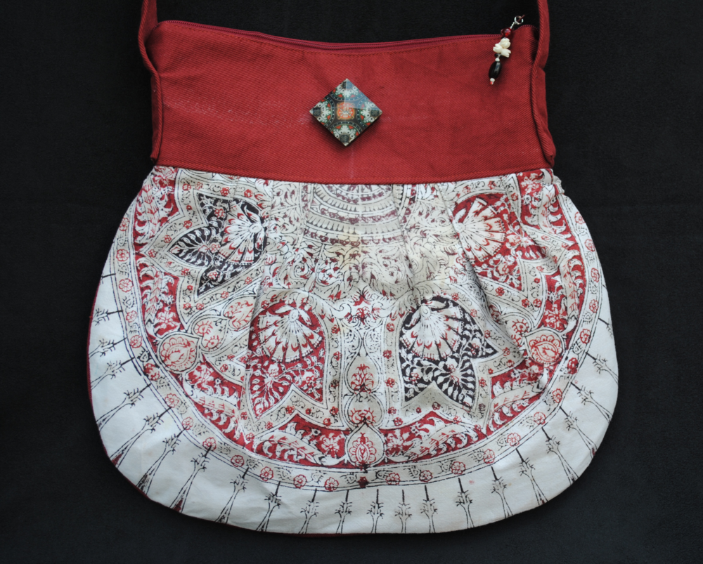 Hansa Kalamkari with Burgundy Canvas Pleated Messenger Bag
