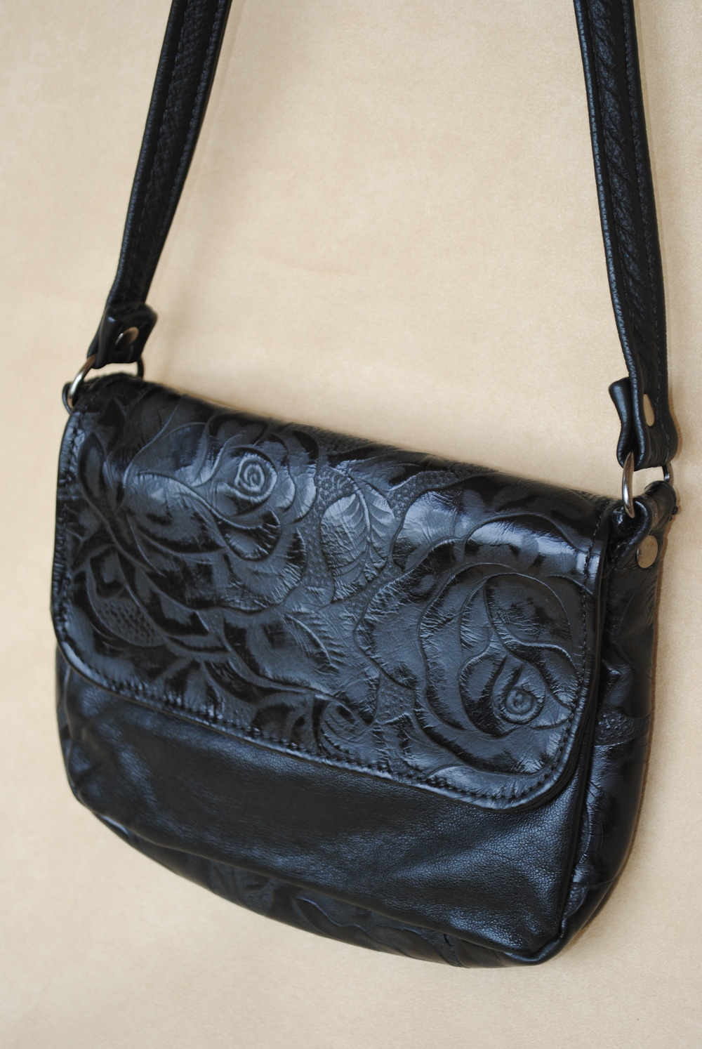 Small Black Leather with Embossed Roses