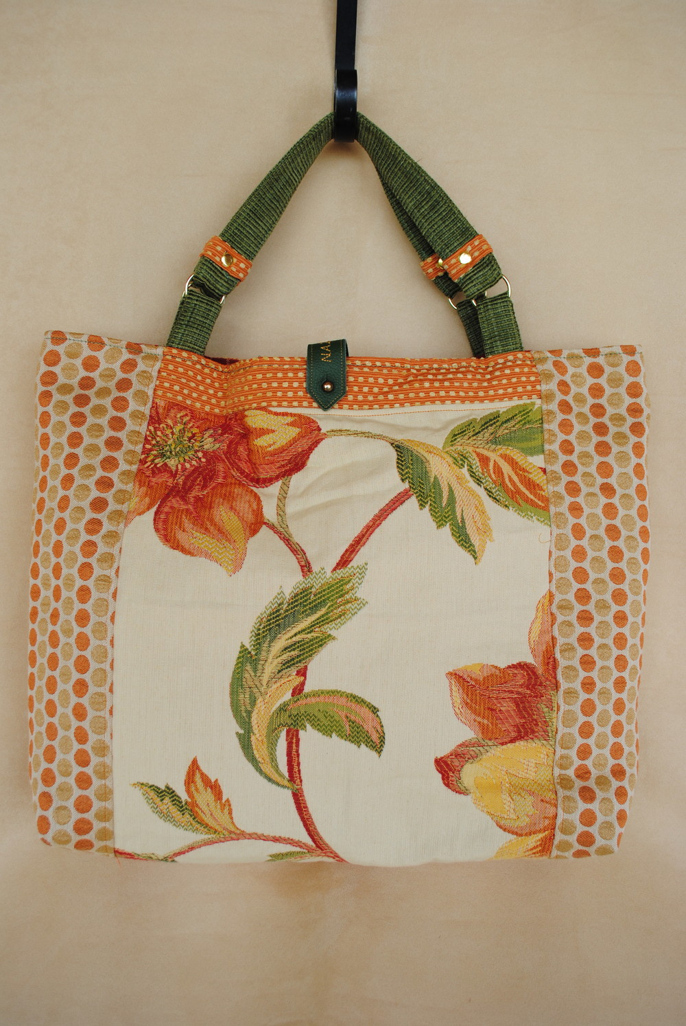 Tangerine and Green Tote