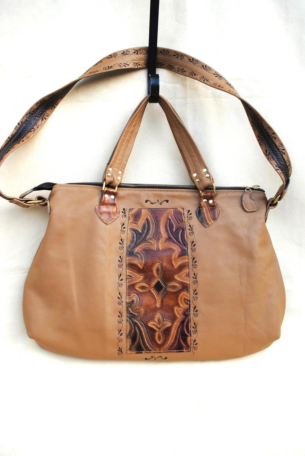 Cocoa CaramelHand Tooled and Embroidered Leather Executive Bag