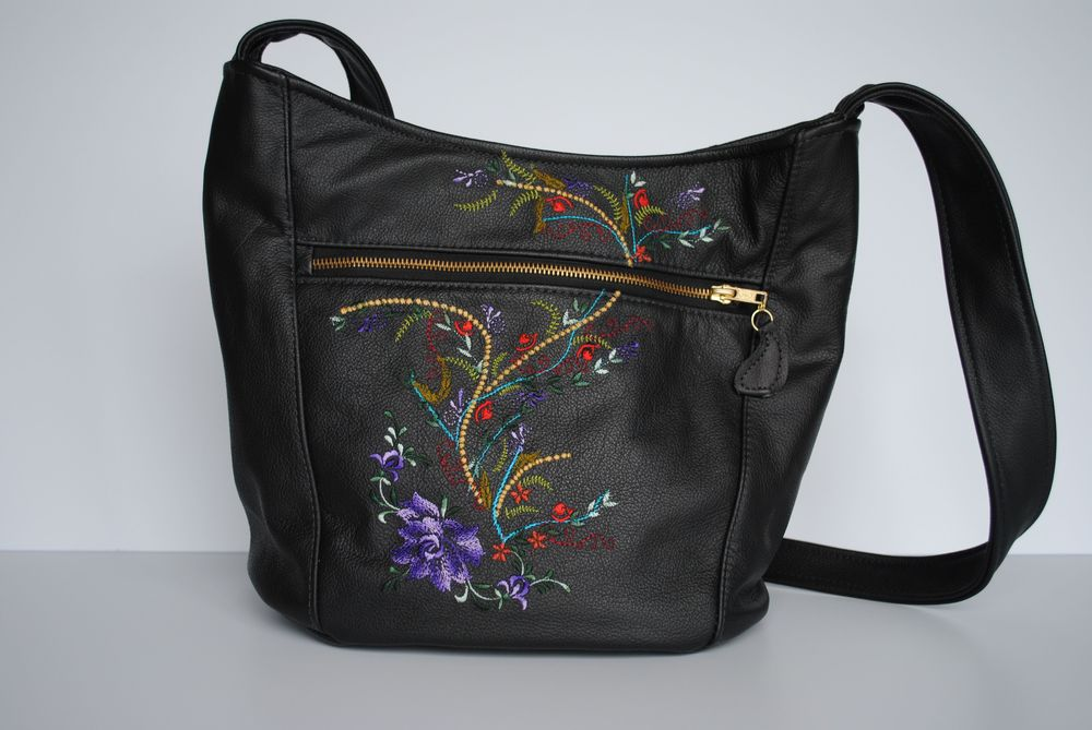 Sophisticated Garden Embroidered Leather Messenger Bag