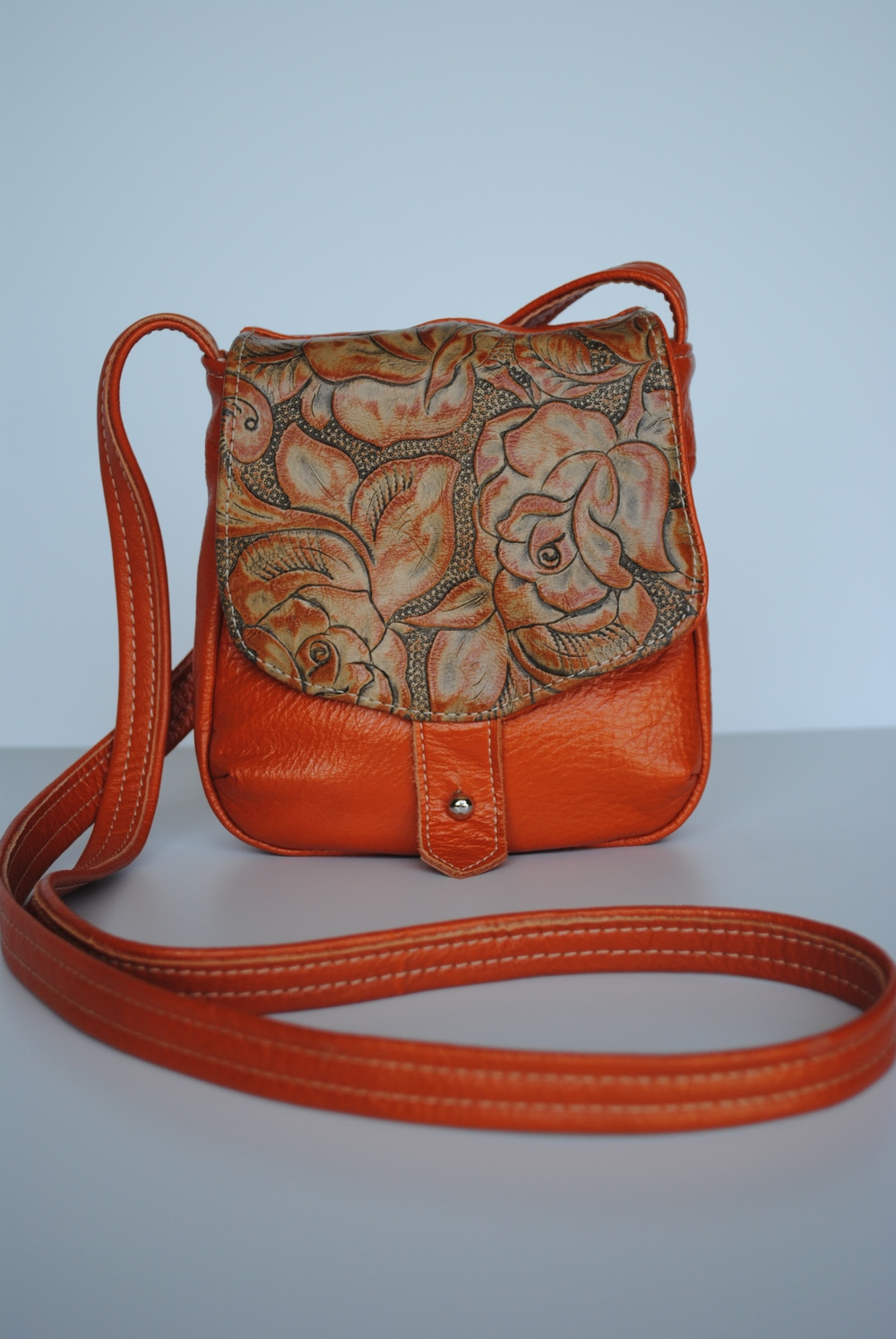 Orange Roses All Leather Small Crossbody