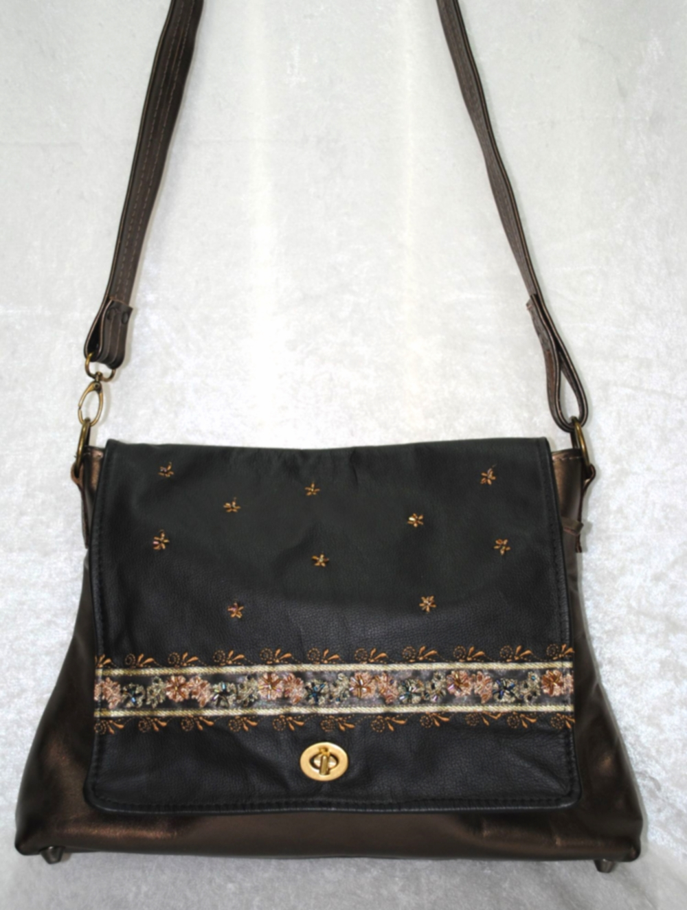 Tarey Zamin Par All Leather Black and Bronze Embroidered Messenger