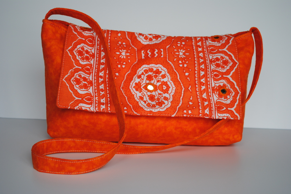 Orange Block Print with Mirrors Messenger