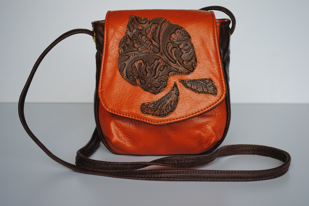 Brown Leaf on Orange Leather Small Cross Body