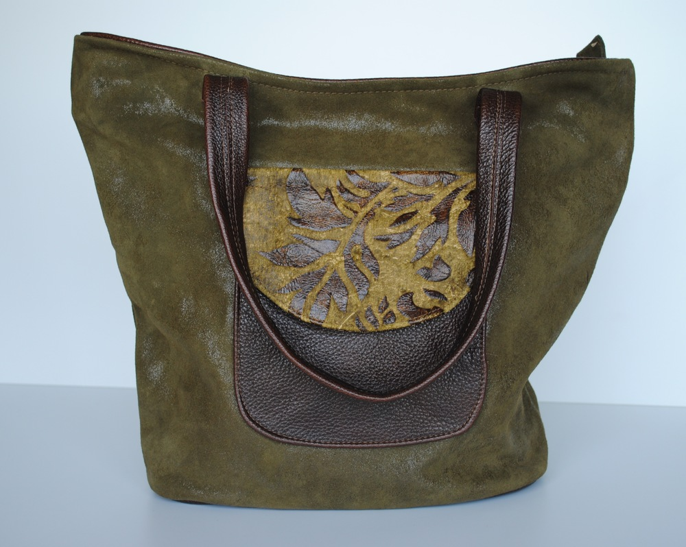 Fern Gully All Leather Tote Green and Brown
