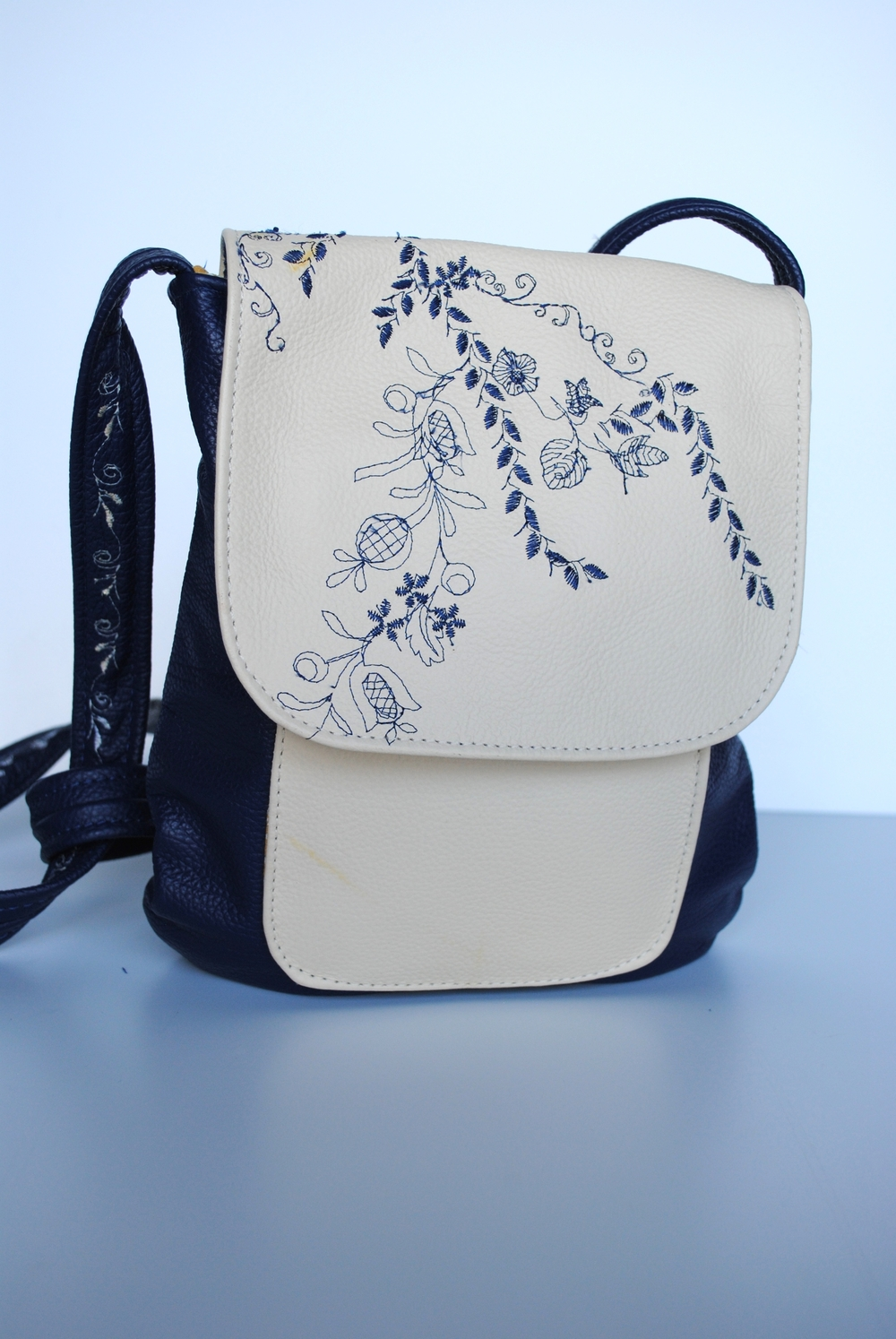 Blue Flowers All Leather Flap Crossbody