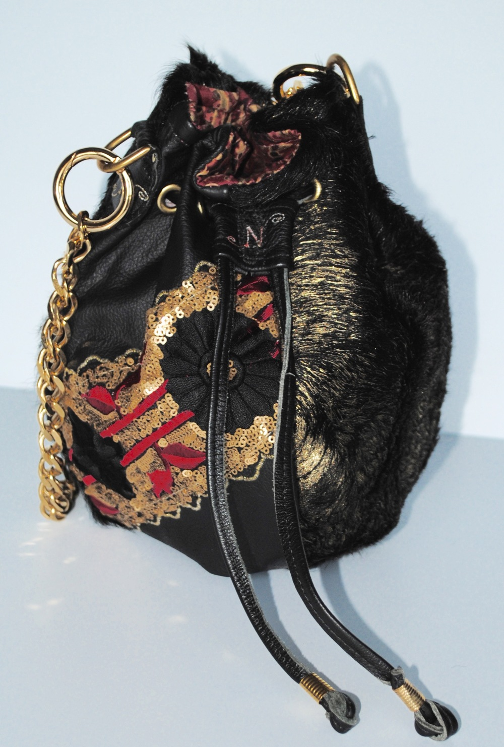 Lady Raspberry Drawstring Leather and Fur on Leather
