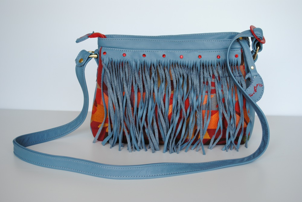 Red and Blue Fringed Messenger