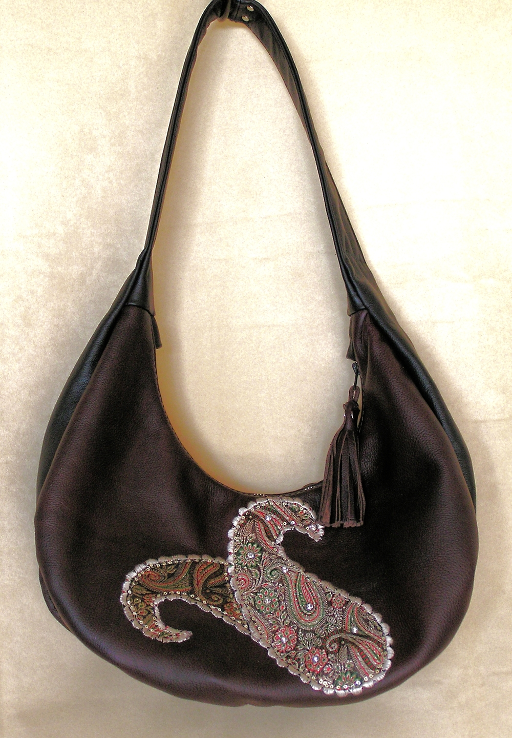 "Brocade Applique on Leather Hobo ""Hirey Boteh"""