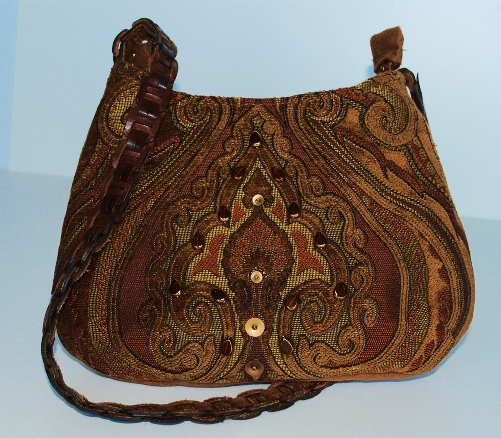 "Small Brown Saddle Fabric Bag, ""Tawny Pouch"""
