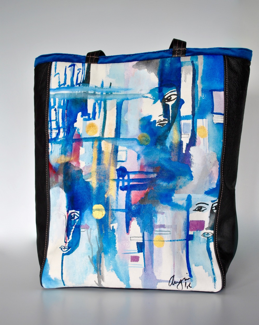 Blue Eyes Acrylic Painting on Canvas on Large Tote with Leather and Velvet.