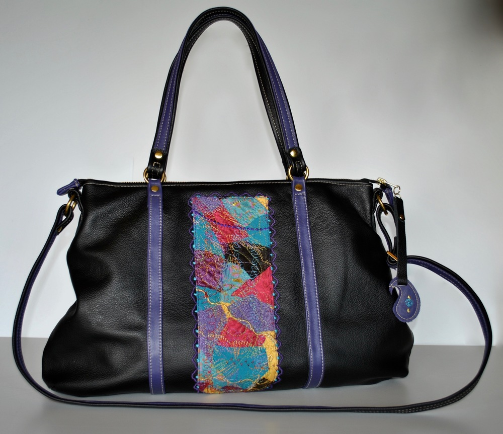 Crazy Patchwork All Leather Black and Purple Bag