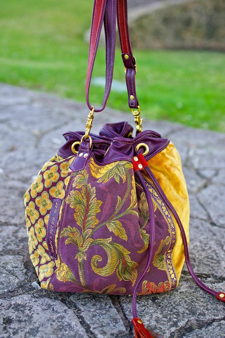 "Large Tapestry Square Drawstring Bag Purple and Gold with Leather ""Discombobulated"""