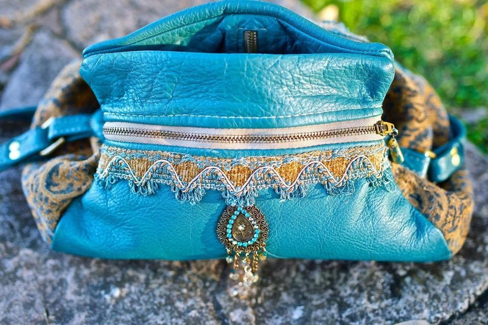 Turquoise Leather and Tapestry Handbag
