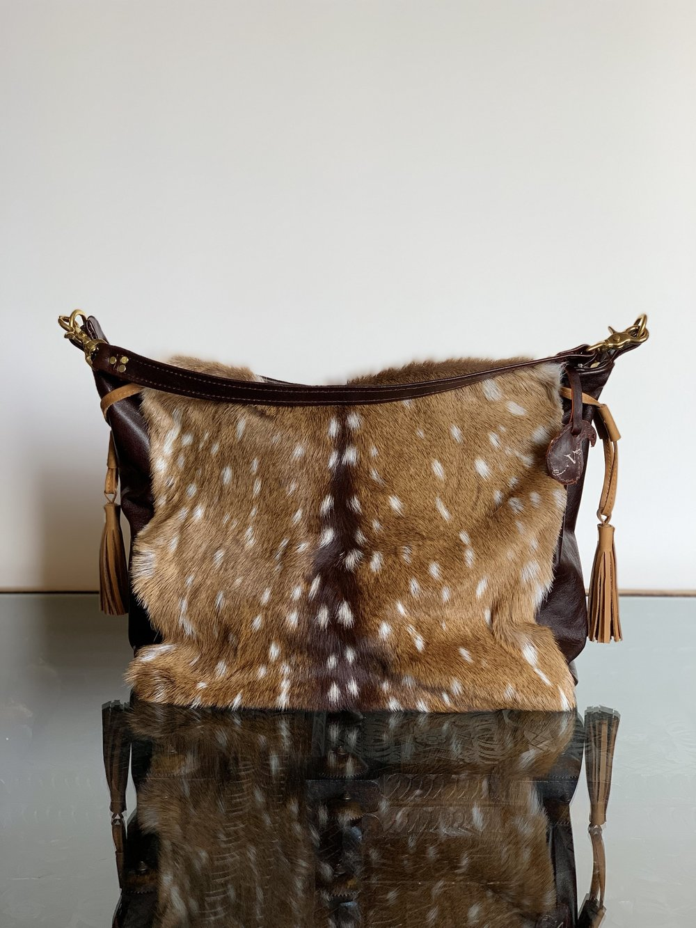 Axis Deer Skin With Fur and Cowhide Leather