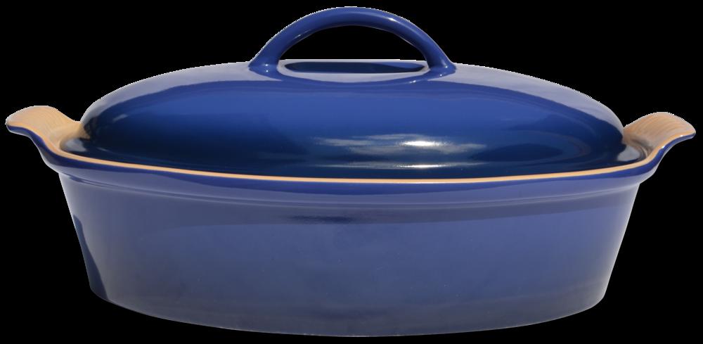 Le Creuset Stoneware Oval Dish w/ cover Cobalt blue 36m
