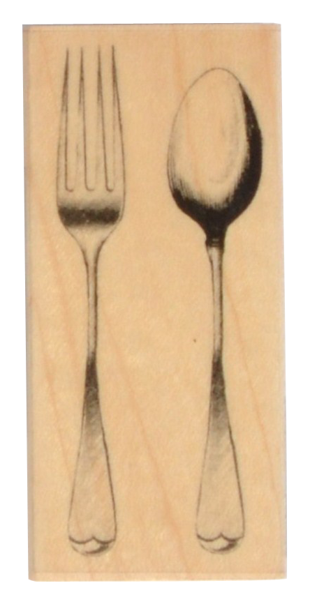 Fork & Spoon Rubber Stamp