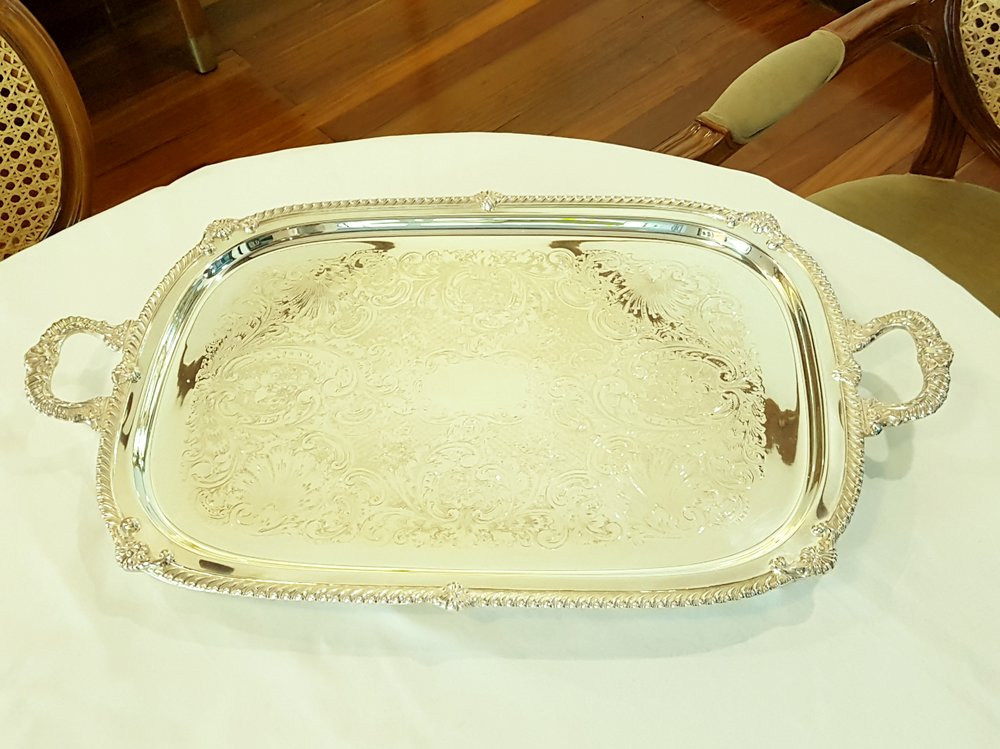 "BEAUTIFUL SILVER TRAY   27"" X 16""  Circa 1895-1915. Victorian Era. Wonderful condition. Rests on Four cast legs. It weighs 8 lbs.    View more photos of this item    Price upon request.  Private viewing by appointment."