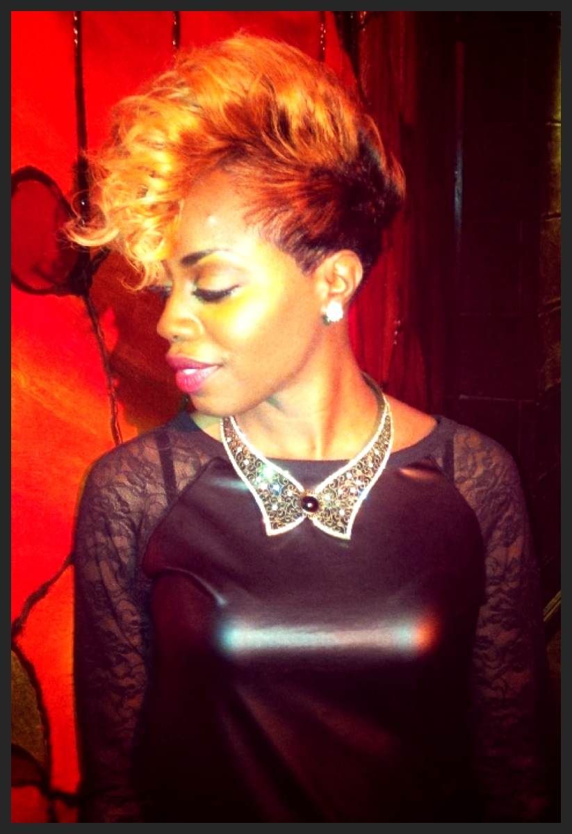"Whitney is rocking our ""Poppin' My Collar"" necklace in Antique gold."