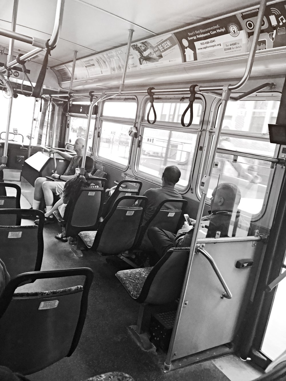 11:43 am. The bus came right on time today. It's usually a few minutes late or early. I really love my commutes to the suburb. And enjoy the eclectic group of people the city offers and the bus is no different. Where every walk of life still hang out together in a world where most don't. I truly feel everyone should take public transit once in their life.
