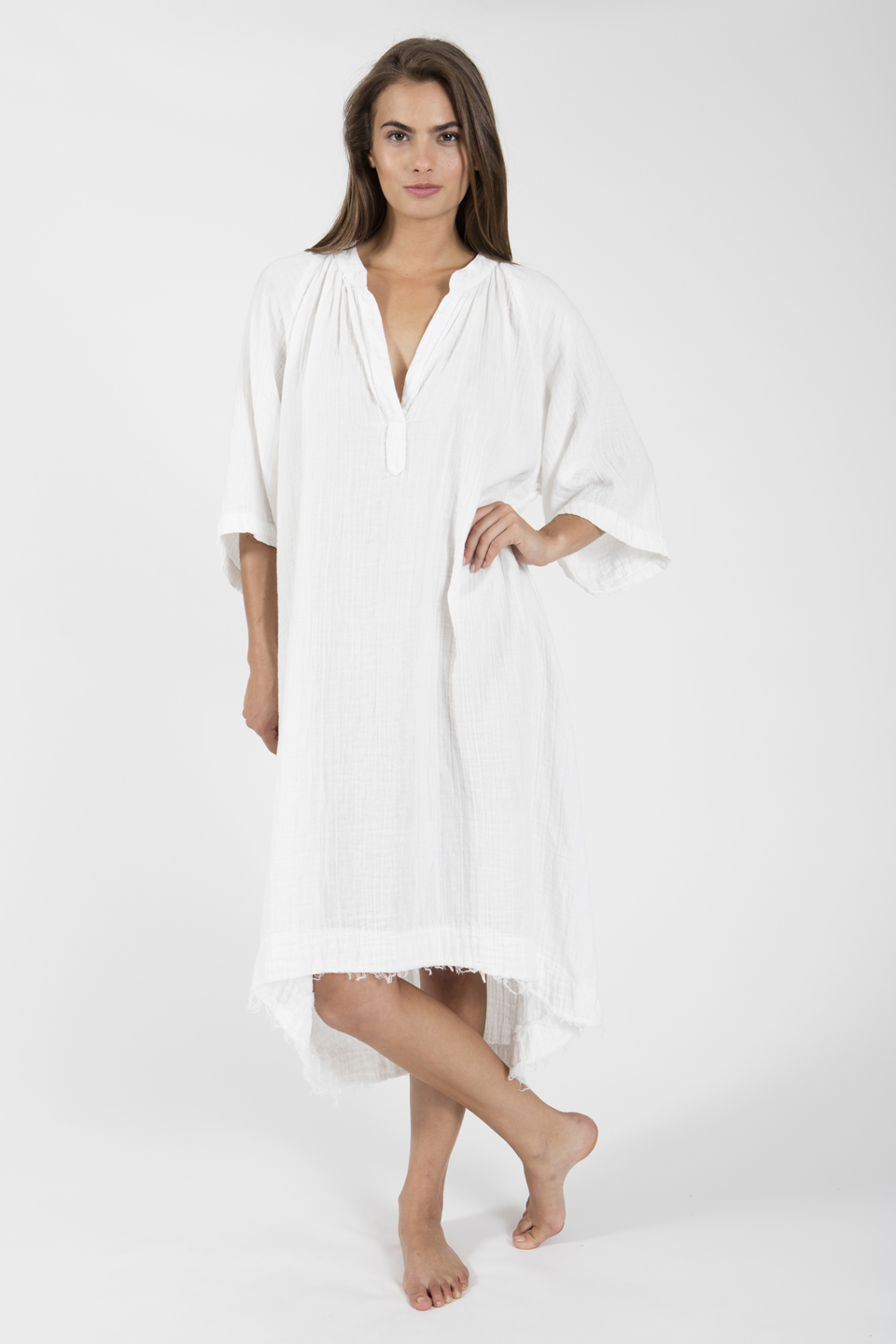 Tangier long sleeve caftan - white