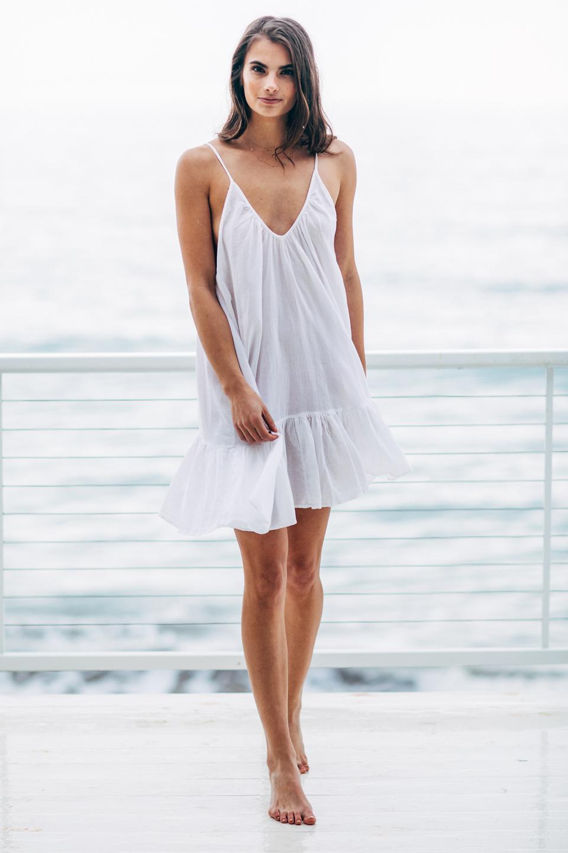 St Tropez ruffle mini - white