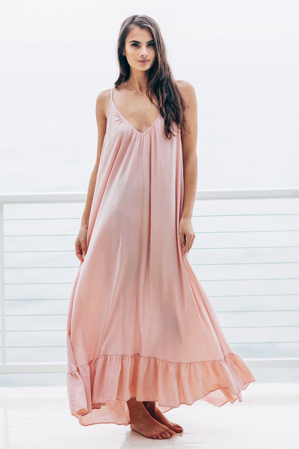Paloma ruffle maxi - antique rose