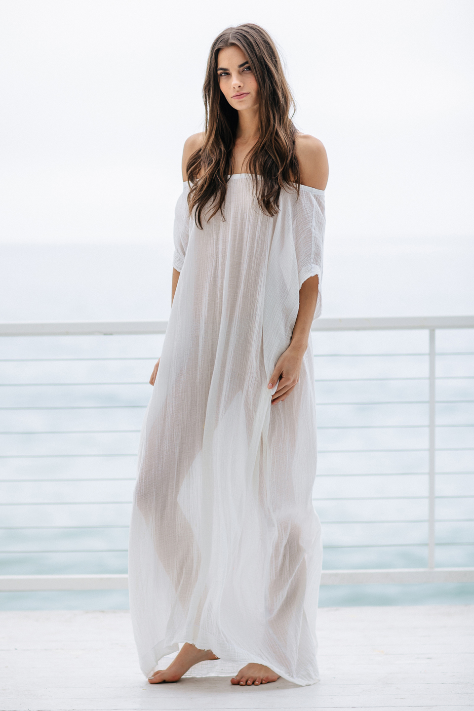 Moonstone off shoulder caftan - white